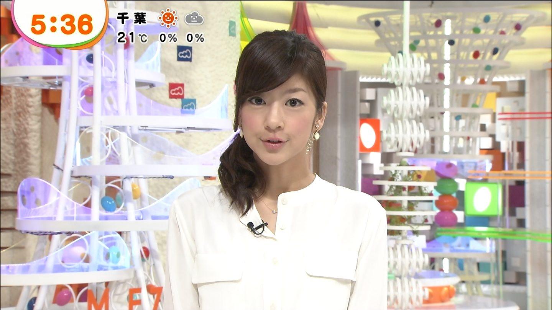 白いトップスで髪を横に一つで結びニュースを読むアナウンサー、生野陽子