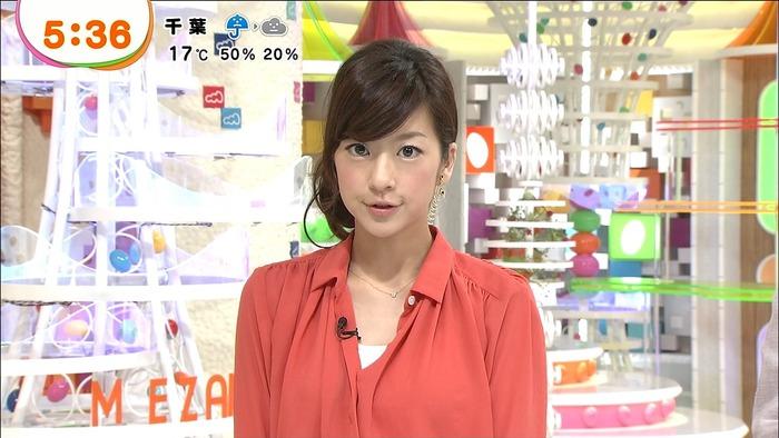 オレンジのシャツでニュースを読むアナウンサー、生野陽子